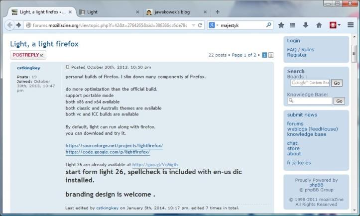 Light, versi ramping browser berbasis Firefox