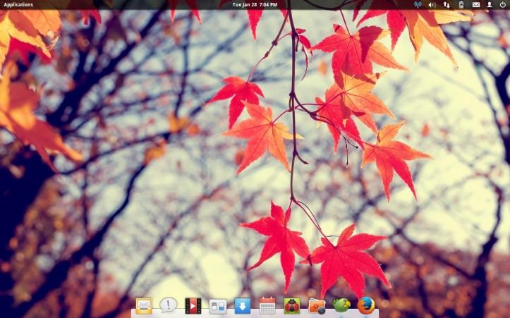 Tampilan desktop Elementary OS yang belum diutak-atik