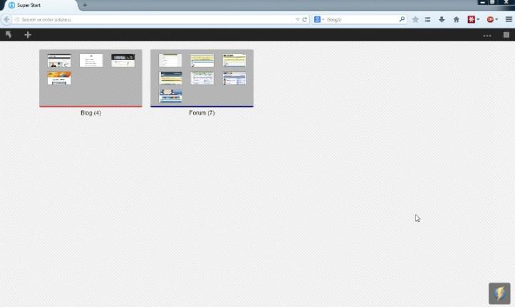 Addon speed dial untuk Firefox, Super Start