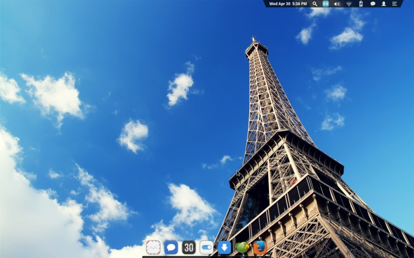 Tampilan desktop eOS versi unstable