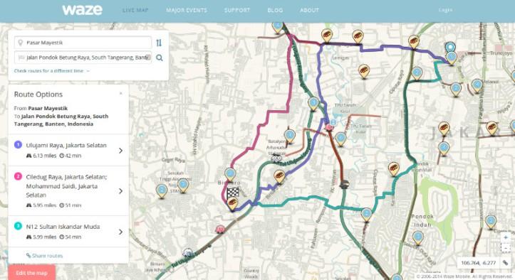 Alternatif rute, jarak dan waktu bisa diakses di Waze Live Map
