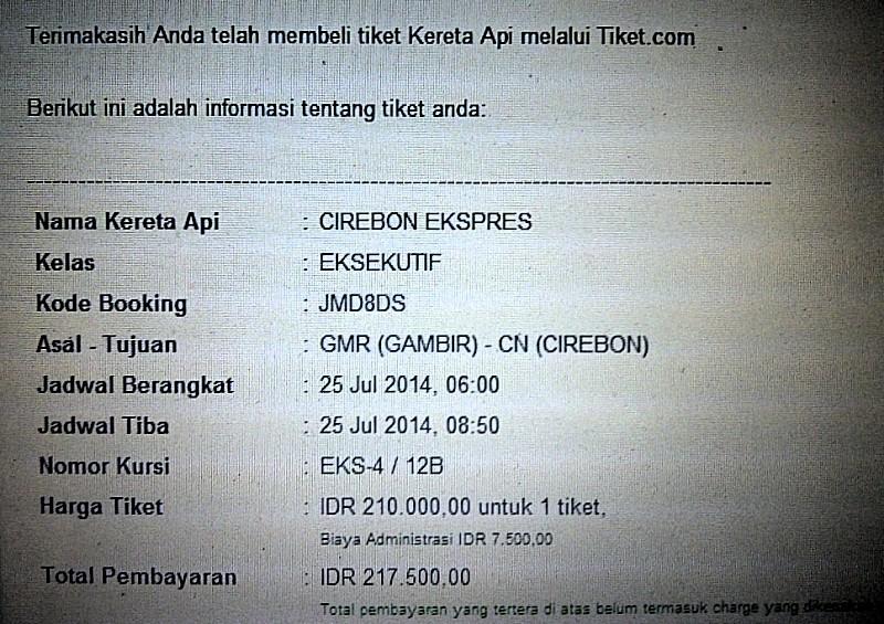 Pertama kali membeli tiket kereta secara online.