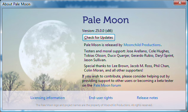 Upgrade Pale Moon