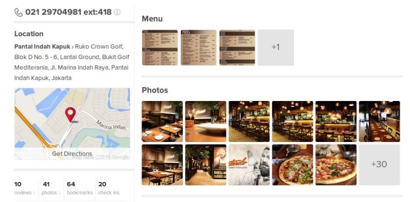 Informasinya lengkap termasuk ada daftar harga menu.